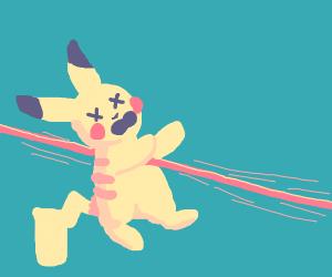 Pikachu killed by a laser
