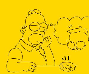 Homer (losing hair) looks at a donut