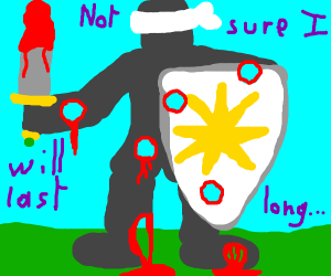 Holy Knight fights Blindfolded