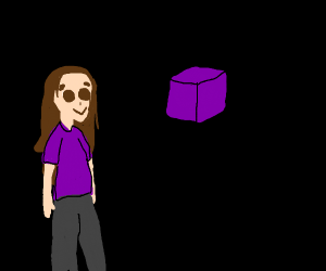 Girl and floating purple cube