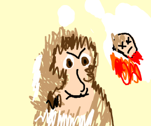 an evil monkey thinking about cooking a human