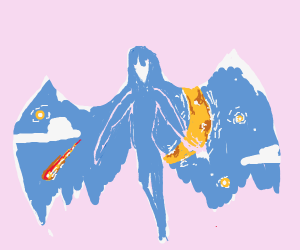 blue female demon shoots fireballs