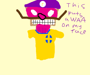 Waluigi thanos wearing swedish soccer jersey