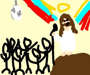 Jesus sings karaoke