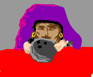 fortune teller reads bowling ball