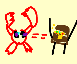 lobster shooting eye lasers at treasure chest