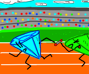 a diamond running a relay race