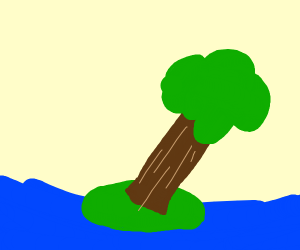 An island with a tree about to fall over