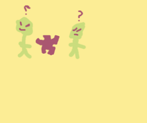 Two aliens confused about a puzzle piece
