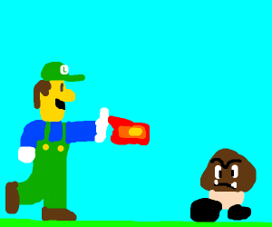luigi shoots a fireball to a goomba