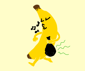 Banana is taking out the trash
