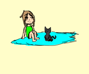 Lady on a surfboard with a cat