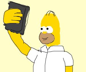 Homer taking a selfie