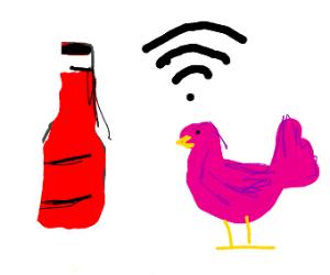 Pink bird emits WiFi and eats ketchup