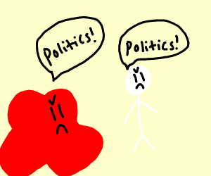 Red blob and White human argue bout politics