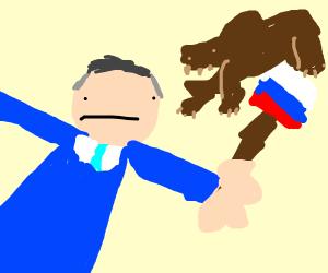 Putin is thrown at giant bear