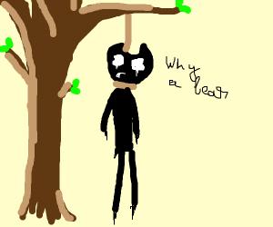 bear hanging itself