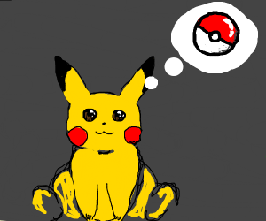 Pikachu thinking about a poke ball