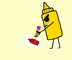 angry mustard draws ketchup