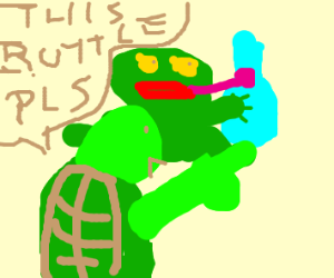frog standing next to a bottle a turtle wants