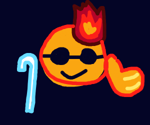Blind emoji is on fire, but is still cool
