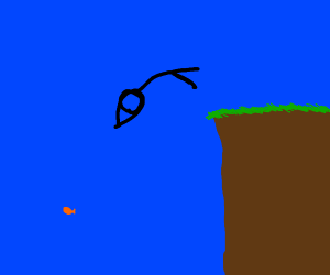 stickman dives to catch goldfish