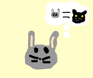 A rabbit that thinks its a cat