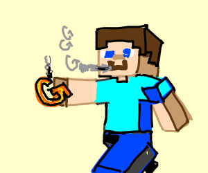 Steve from Minecraft blows the smoke out if g