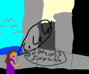 Woman singing to the sidewalk