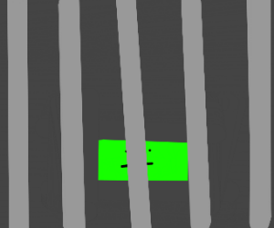 Green rectangle in his prison cell