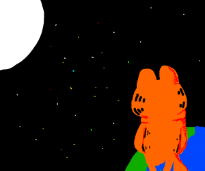 garfield looks at the moon