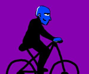 Blue man on bike