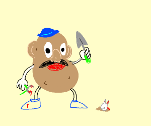 Mr. Potato Head planting a Tooth