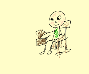 Guy sitting on a chair opening a chest