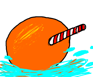 A straw inside of an orange