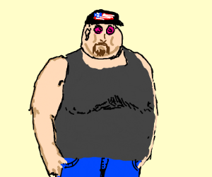 Fat american with nipple eyes wearing jeans