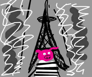 Pig in jail suit in front of Eiffel Tower