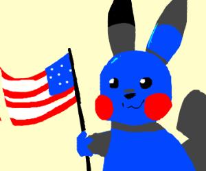 Blue Pikachu holds American flag