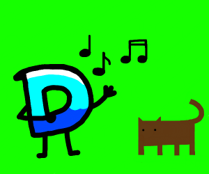 drawception D singing to a brown cat