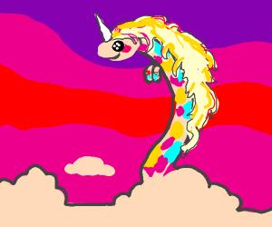 "unicorn but a giraffe, rainbow ""hair"""