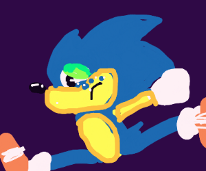 crying sonic runs as fast as he can