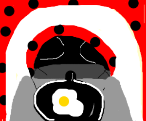 ladybug cooking some yummy eggs for breakfast
