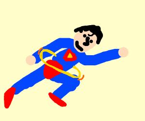 Superhero hula hoops while flying