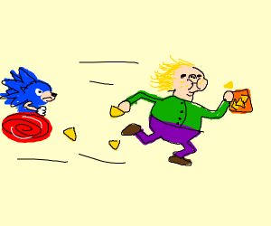 Child eating nachos while escaping from Sonin