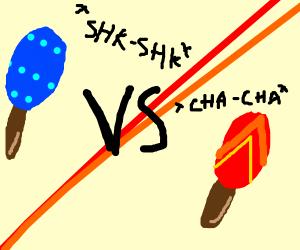 Blue maraca VS Red maraca - FIGHT!