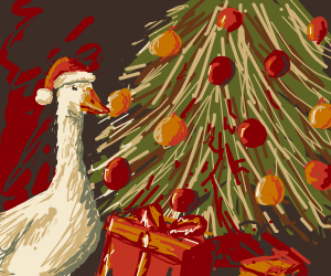 A goose celebrating Christmas