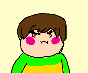 Rubberross dressed as Chara from Undertale