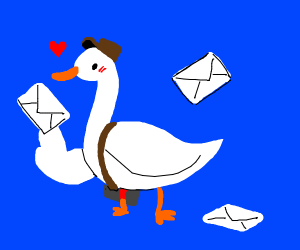 duck taking mail