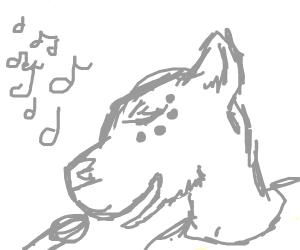 a furry singing