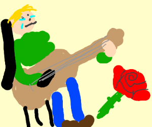 Man with guitar cries, a rose beside him